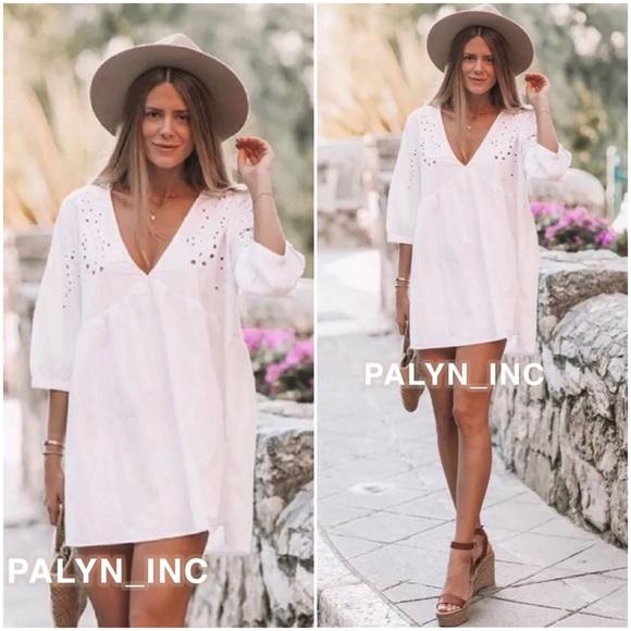 RARE/_NWT ZARA White Embroidered Mini Dress Tunic Ref.7200//037/_M